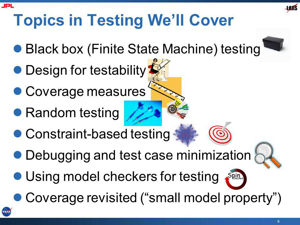 Topics in Testing We'll Cover