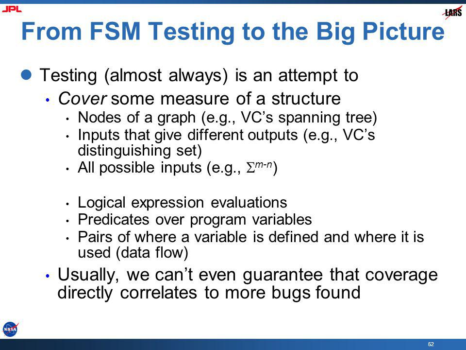 From FSM Testing to the Big Picture