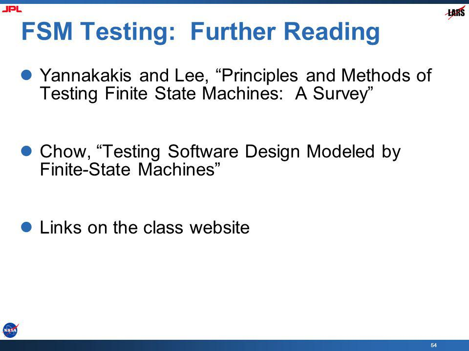 FSM Testing: Further Reading