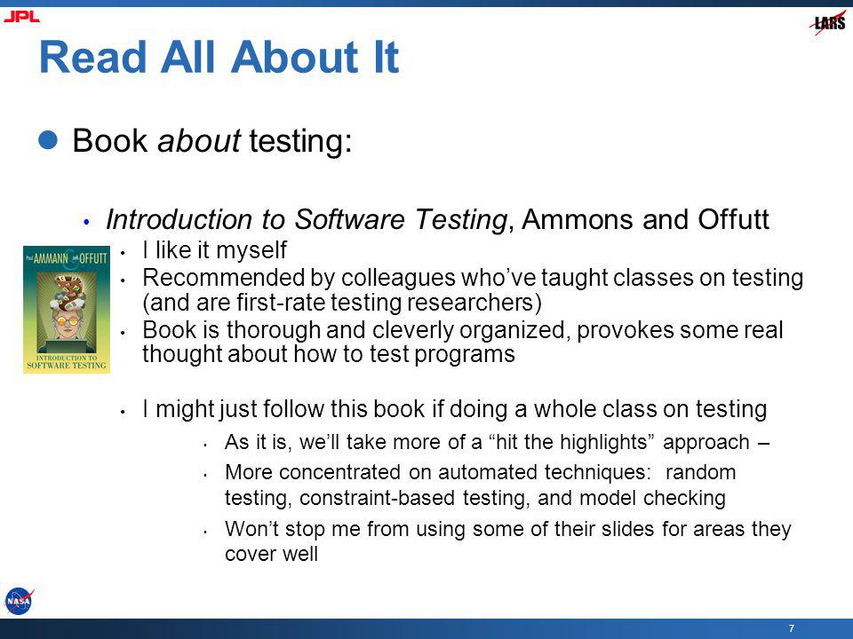 Read All About It Book about testing: