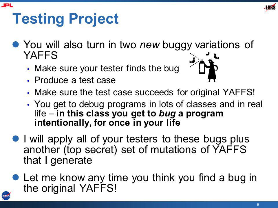 Testing Project You will also turn in two new buggy variations of YAFFS. Make sure your tester finds the bug.