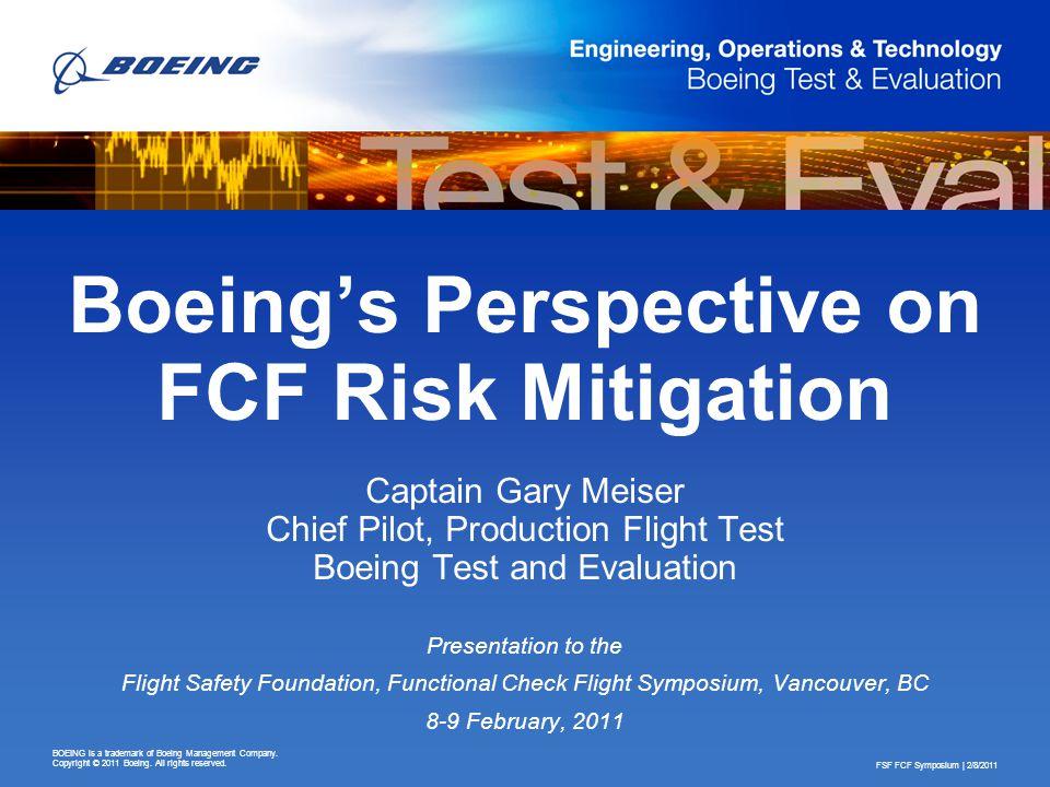 Boeing's Perspective on FCF Risk Mitigation
