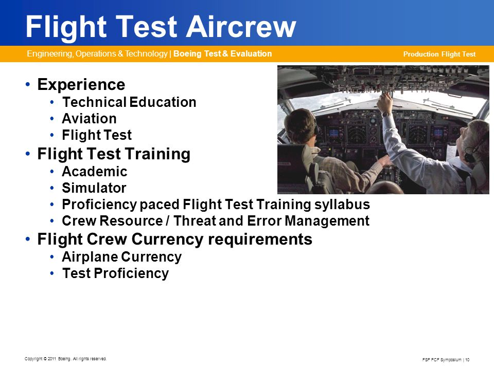 Flight Test Aircrew Experience Flight Test Training