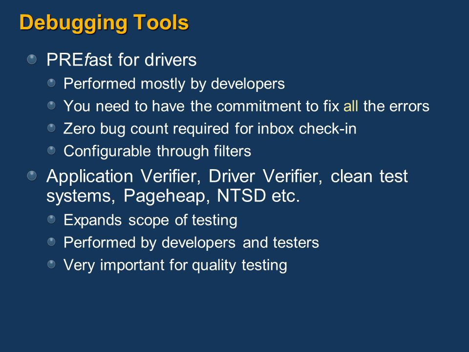 Debugging Tools PREfast for drivers