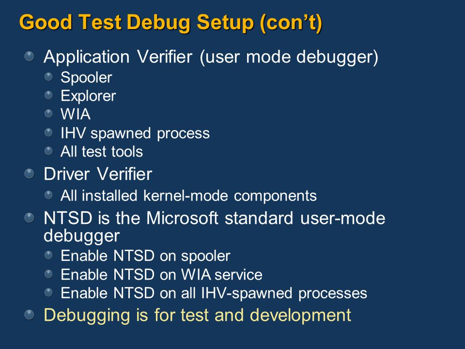 Good Test Debug Setup (con't)
