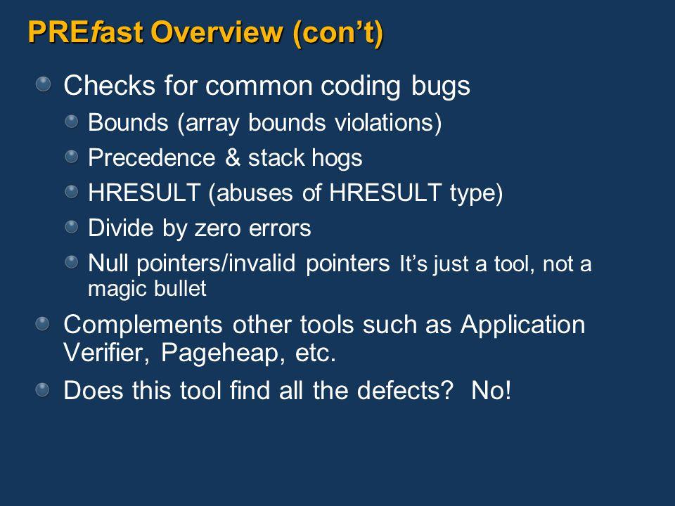 PREfast Overview (con't)