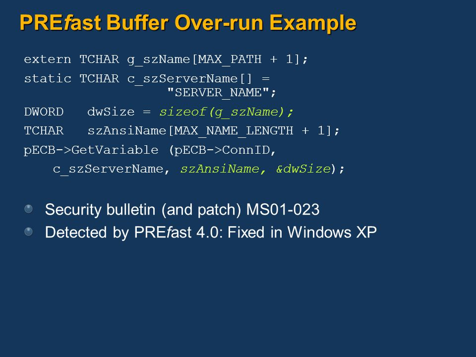 PREfast Buffer Over-run Example