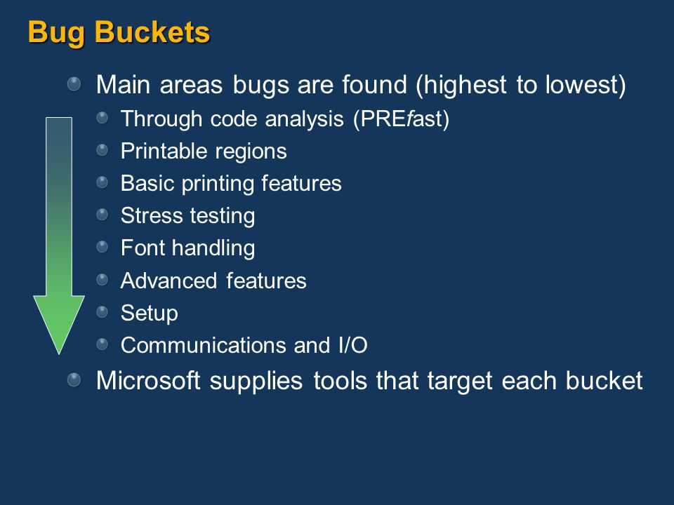 Bug Buckets Main areas bugs are found (highest to lowest)