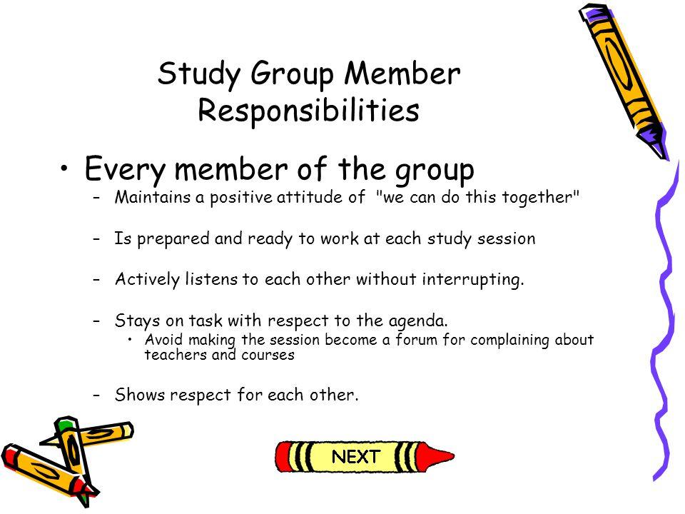 Study Group Member Responsibilities
