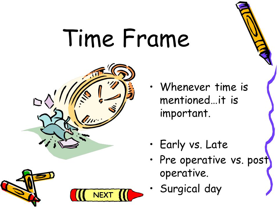 Time Frame Whenever time is mentioned…it is important. Early vs. Late