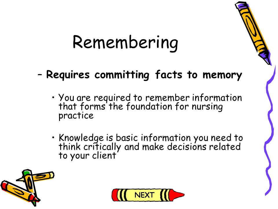 Remembering Requires committing facts to memory