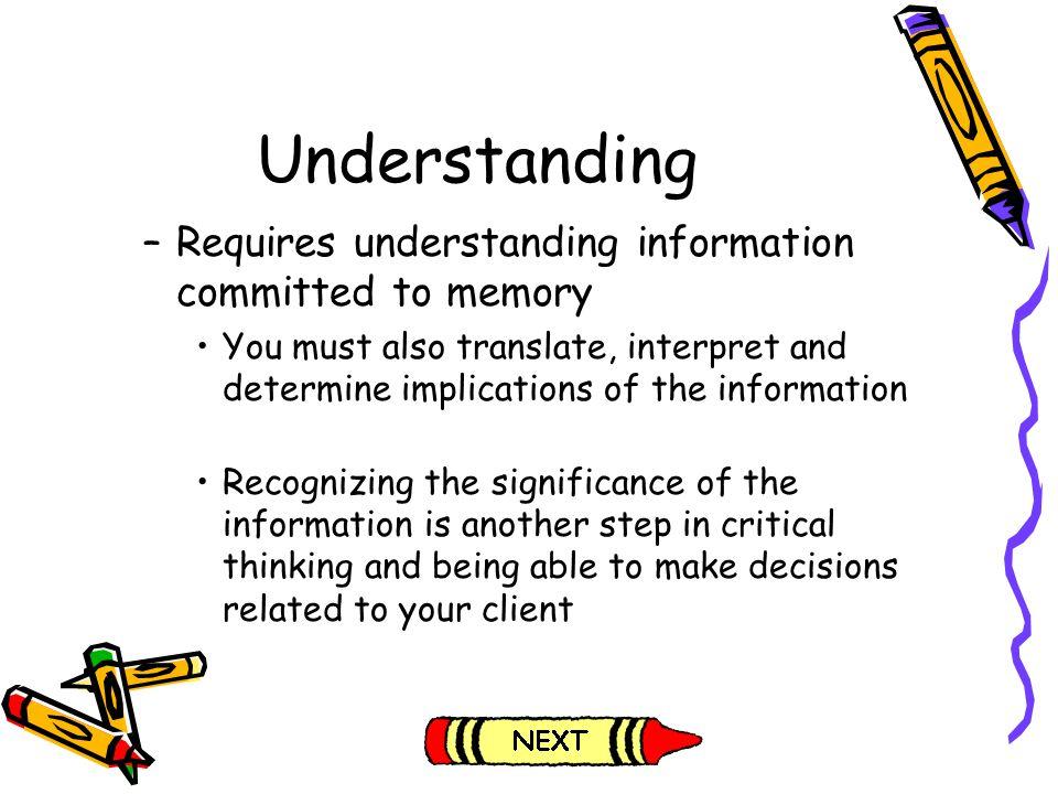 Understanding Requires understanding information committed to memory