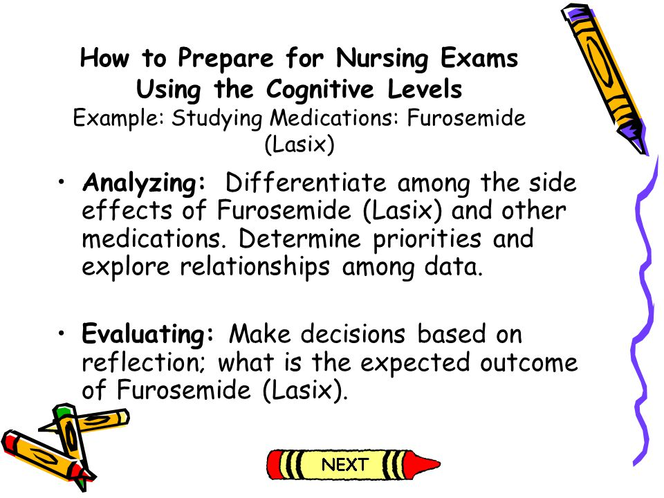 How to Prepare for Nursing Exams Using the Cognitive Levels Example: Studying Medications: Furosemide (Lasix)