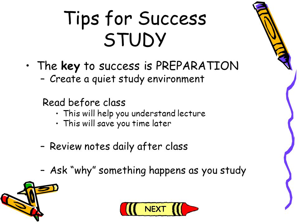 Tips for Success STUDY The key to success is PREPARATION
