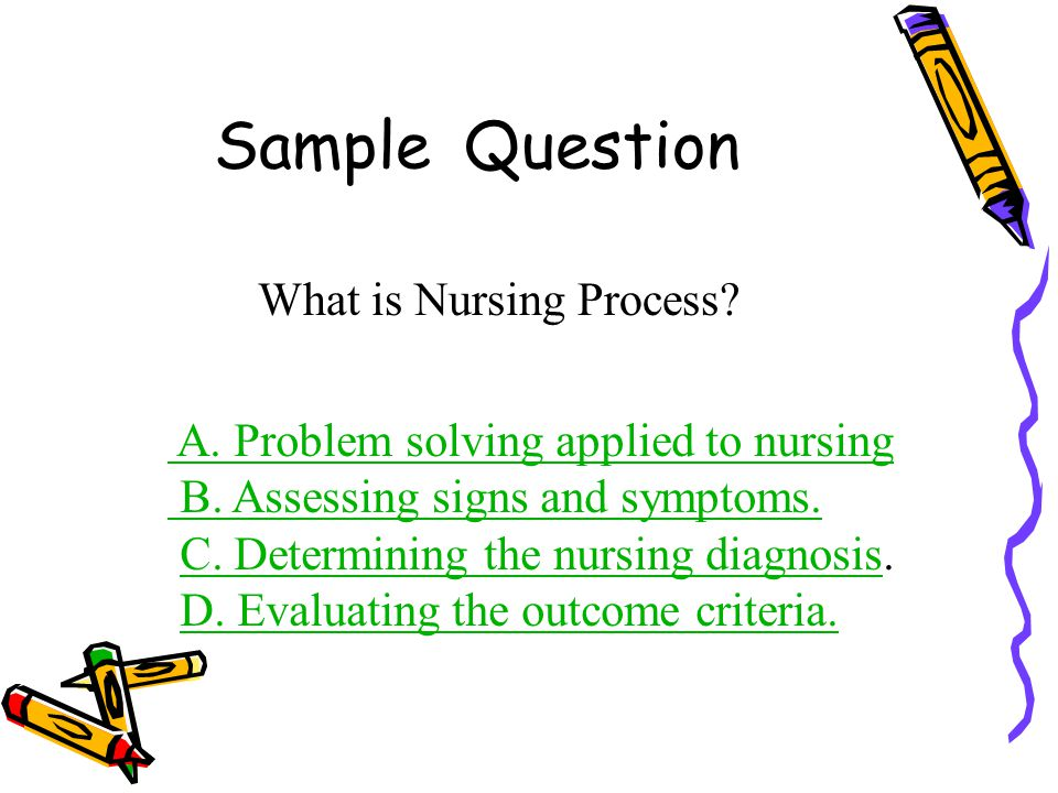 Sample Question What is Nursing Process