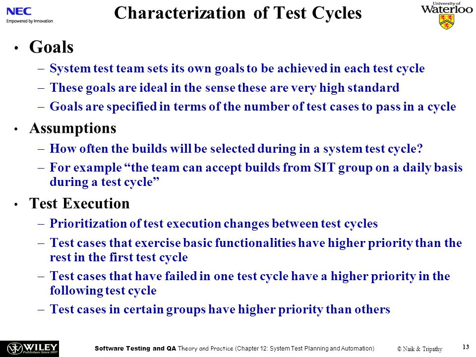 Characterization of Test Cycles