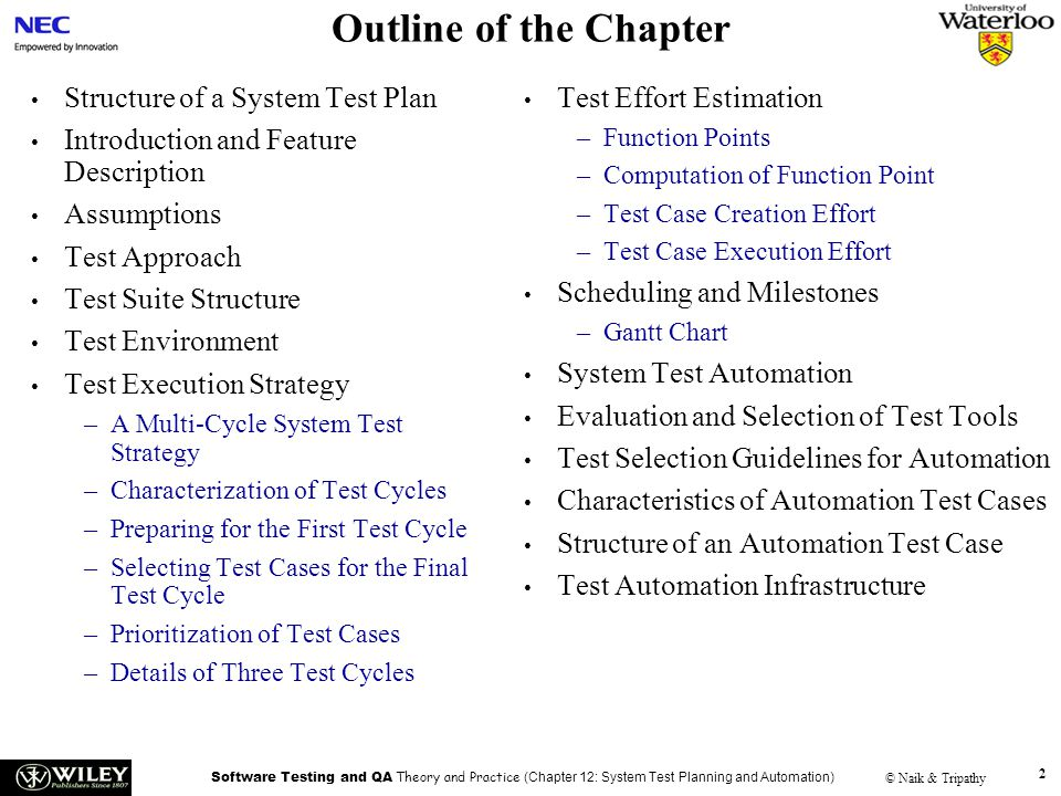 Outline of the Chapter Structure of a System Test Plan