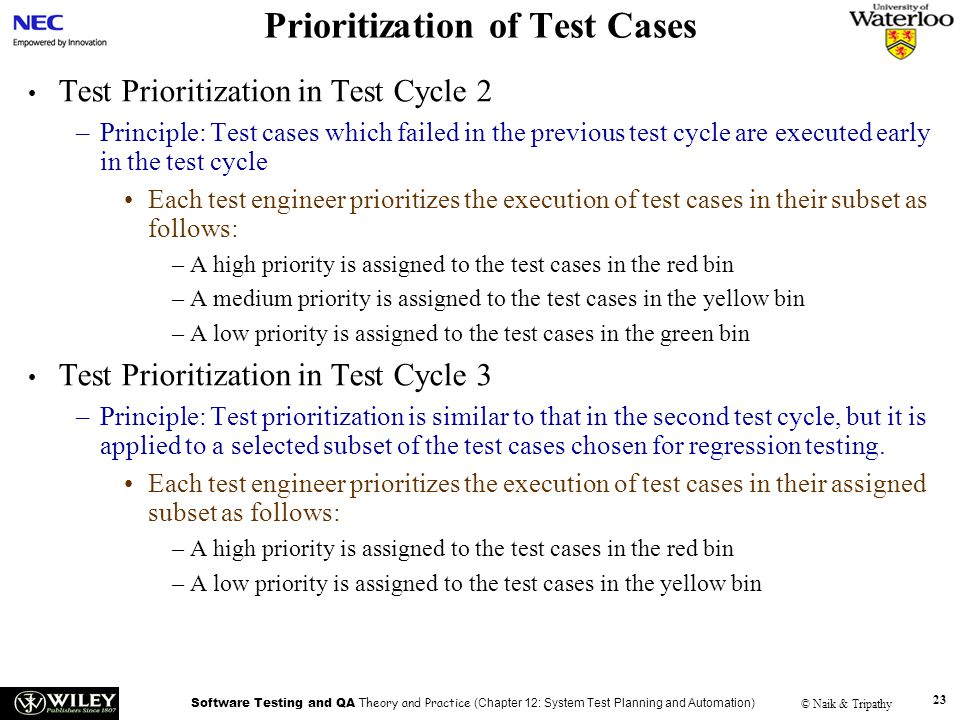 Prioritization of Test Cases
