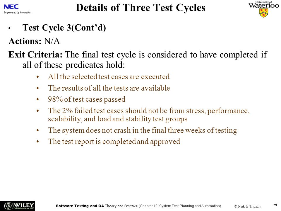 Details of Three Test Cycles