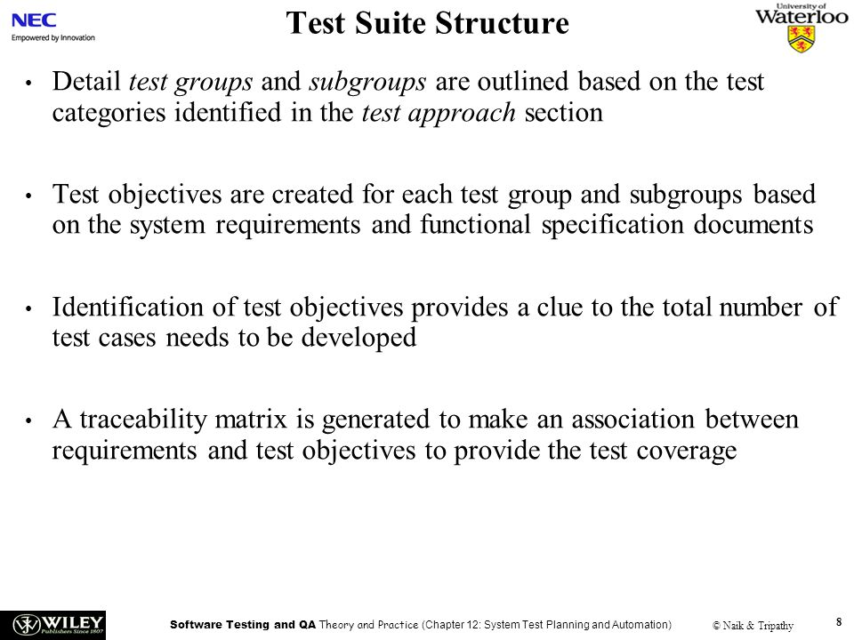 Test Suite Structure Handouts. Detail test groups and subgroups are outlined based on the test categories identified in the test approach section.