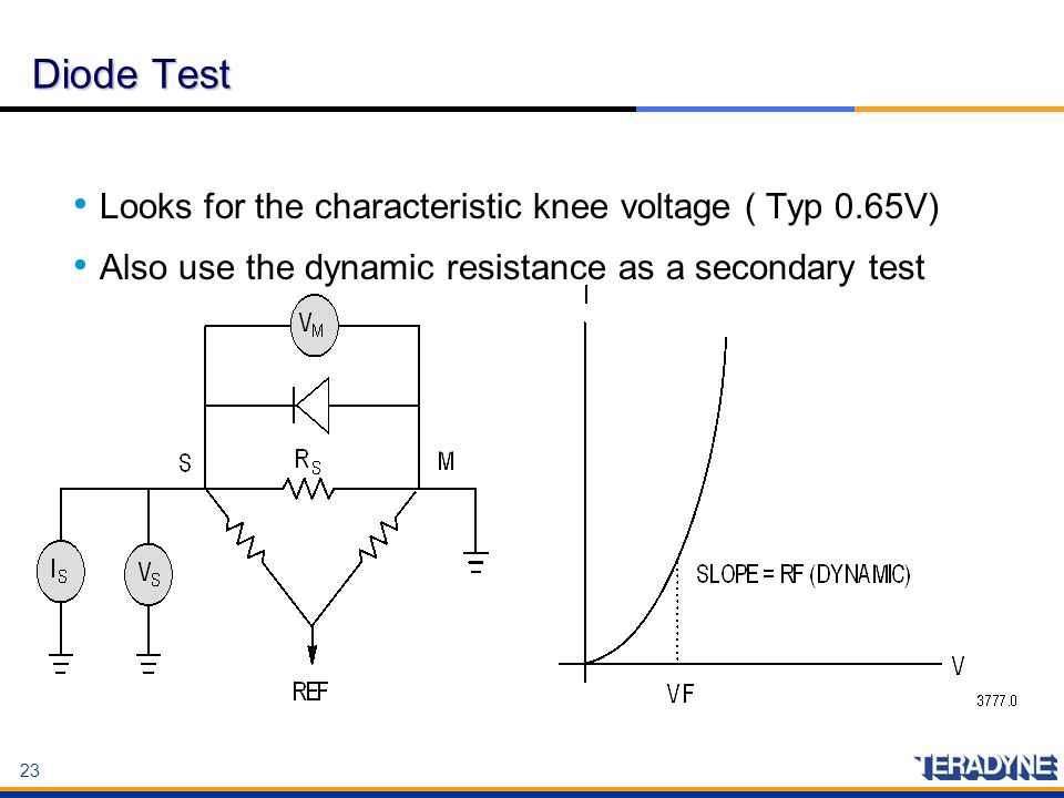 Diode Test Looks for the characteristic knee voltage ( Typ 0.65V)