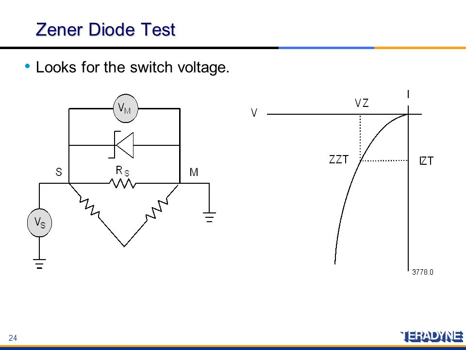 Zener Diode Test Looks for the switch voltage.