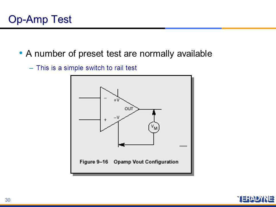 Op-Amp Test A number of preset test are normally available