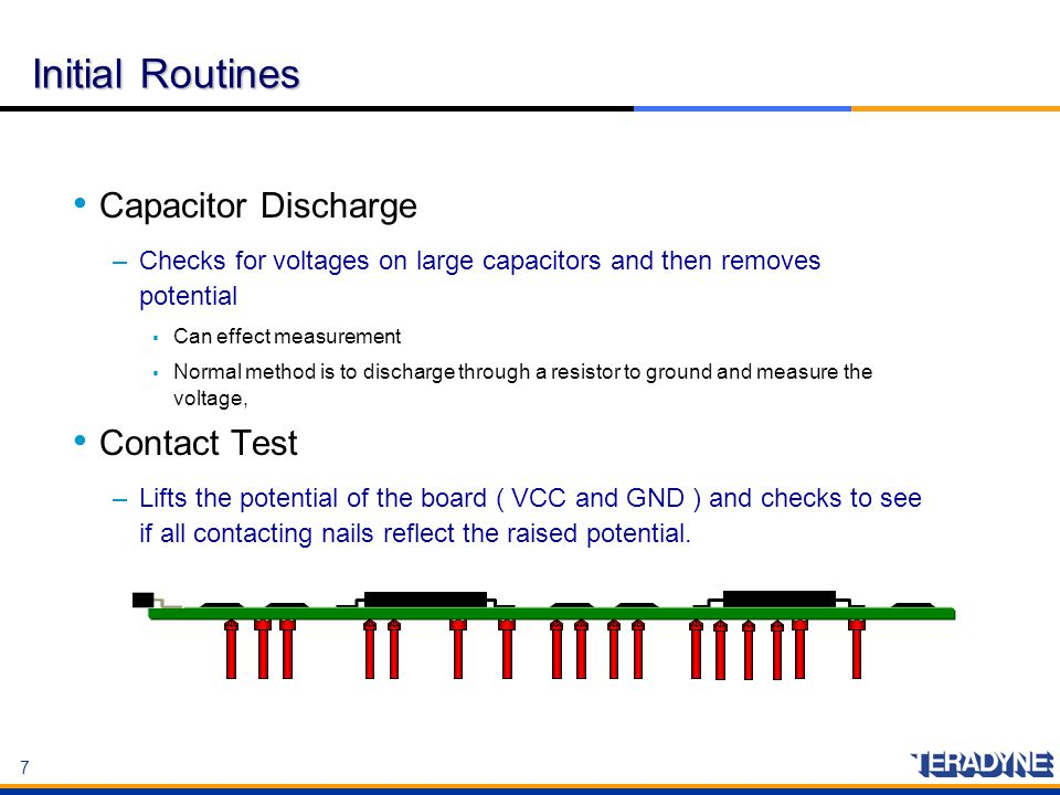 Initial Routines Capacitor Discharge Contact Test