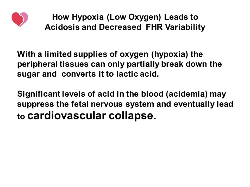 How Hypoxia (Low Oxygen) Leads to Acidosis and Decreased FHR Variability