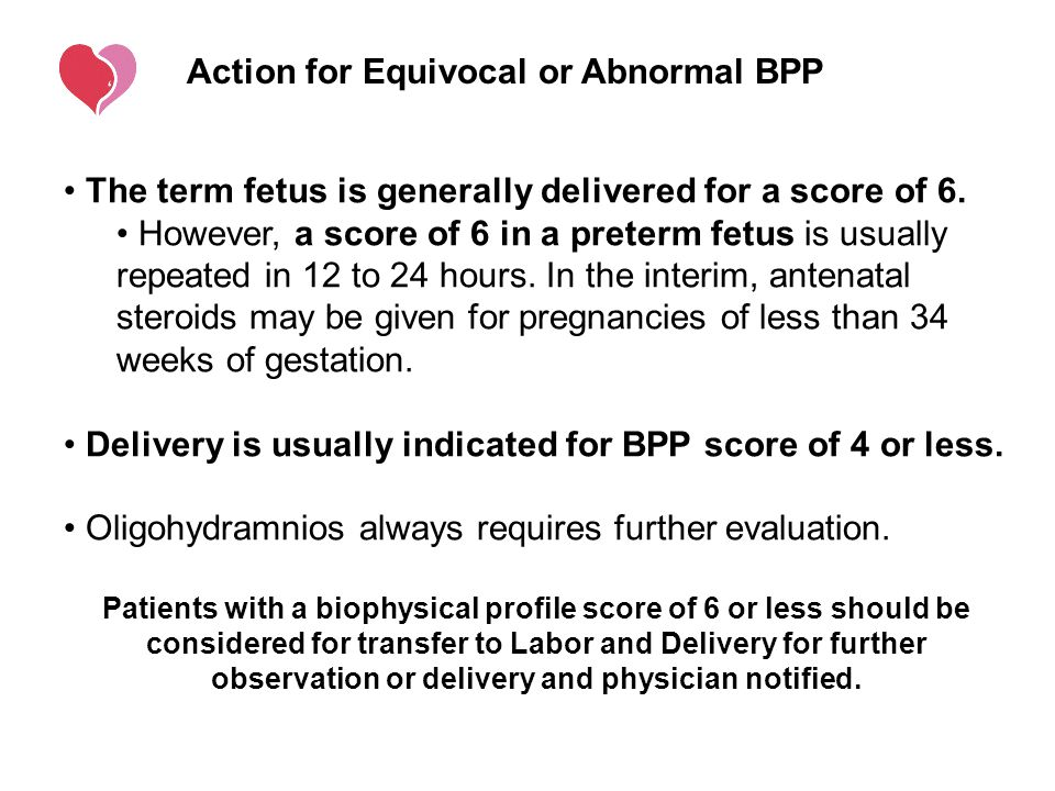 Action for Equivocal or Abnormal BPP