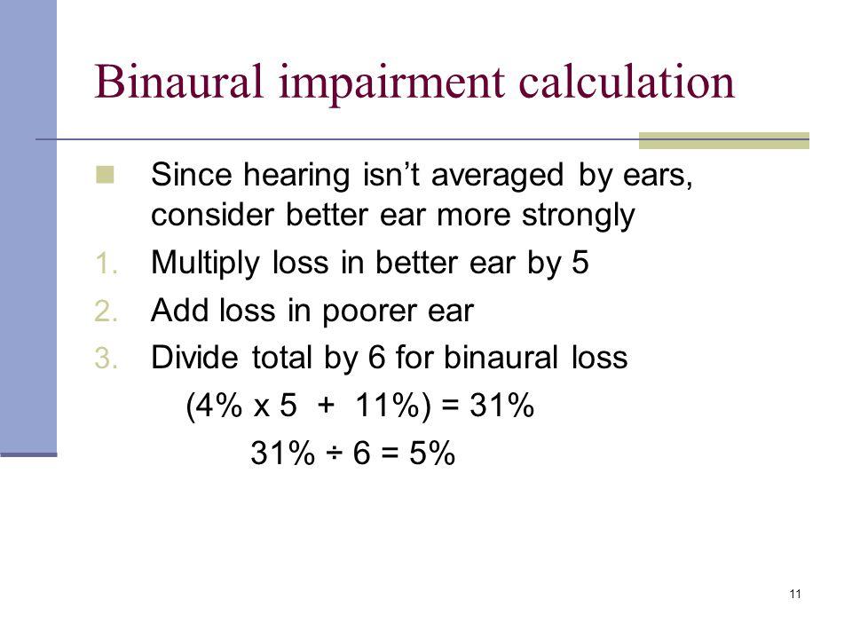 Binaural impairment calculation