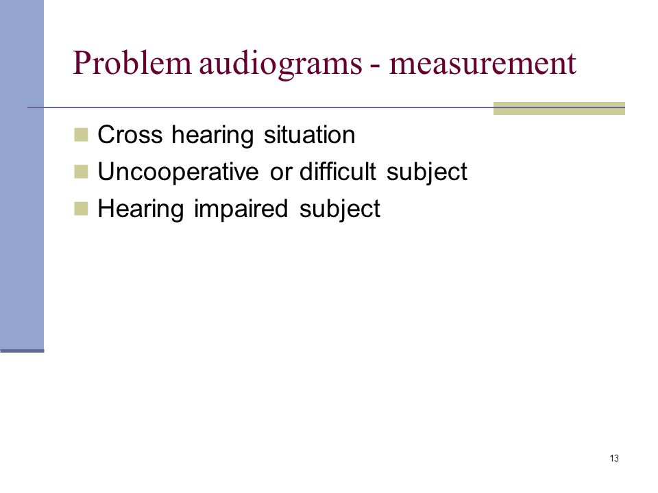 Problem audiograms - measurement