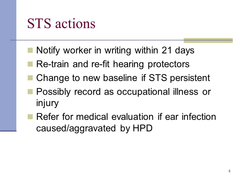 STS actions Notify worker in writing within 21 days