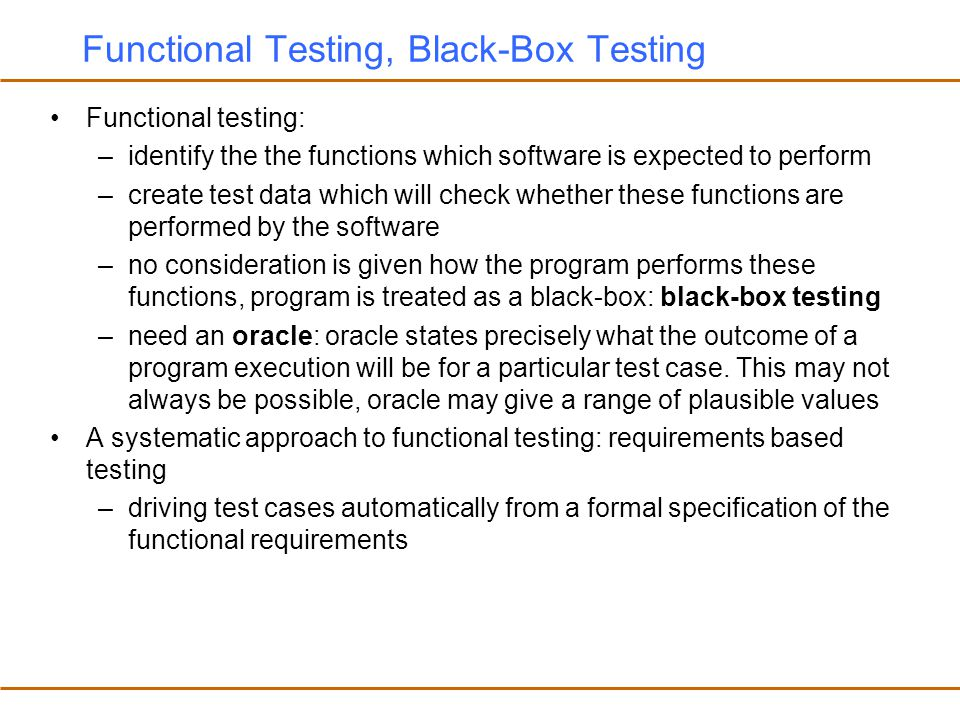 Functional Testing, Black-Box Testing