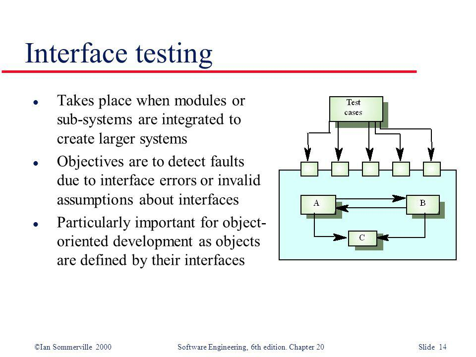 Interface testing Takes place when modules or sub-systems are integrated to create larger systems.