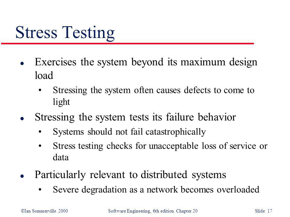 Stress Testing Exercises the system beyond its maximum design load