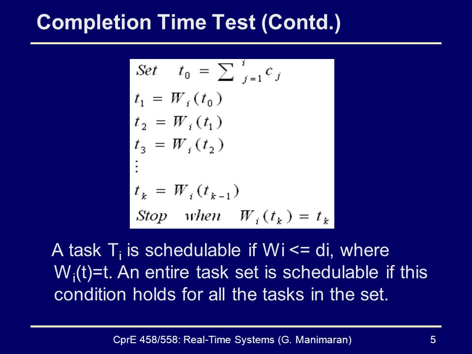 Completion Time Test (Contd.)