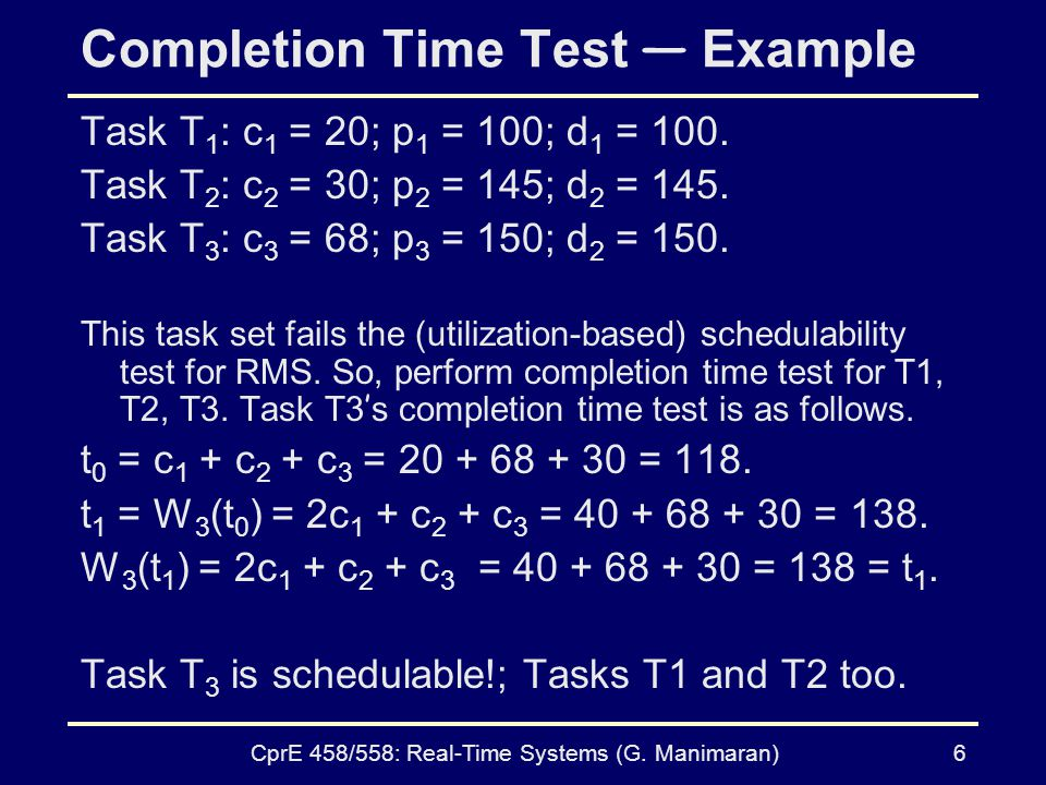 Completion Time Test — Example