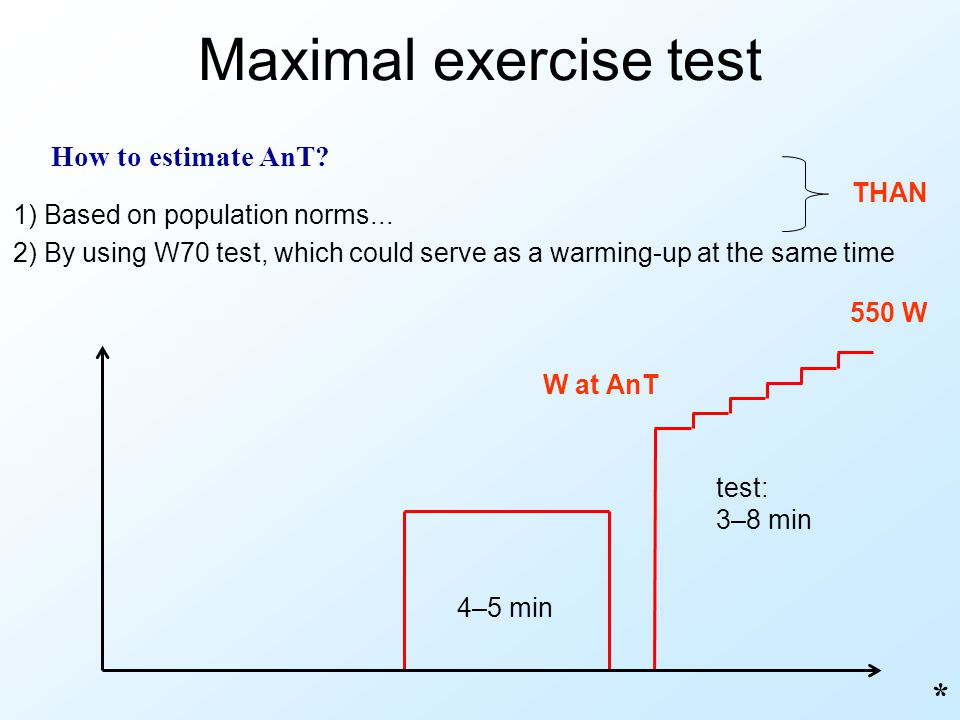 Maximal exercise test * How to estimate AnT THAN