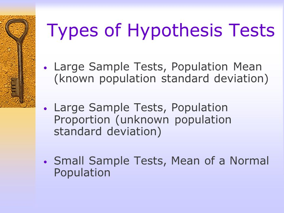 Types of Hypothesis Tests