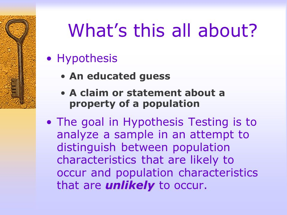 What's this all about Hypothesis