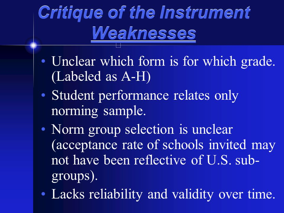 Critique of the Instrument Weaknesses