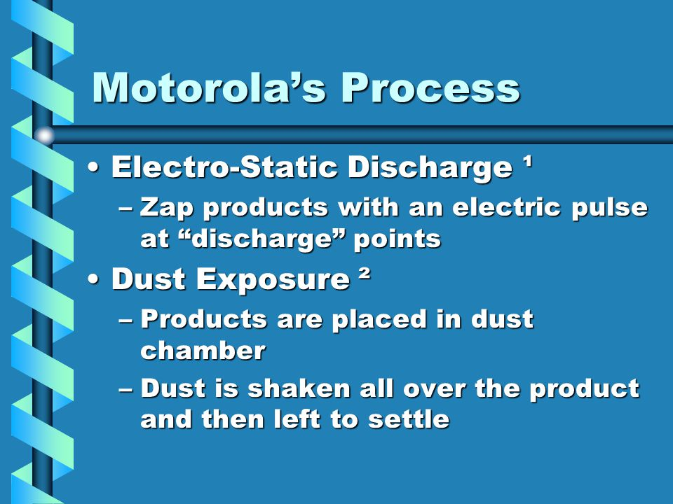 Motorola's Process Electro-Static Discharge ¹ Dust Exposure ²