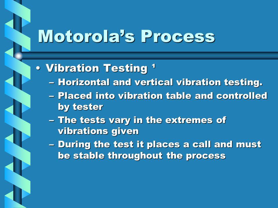 Motorola's Process Vibration Testing ¹