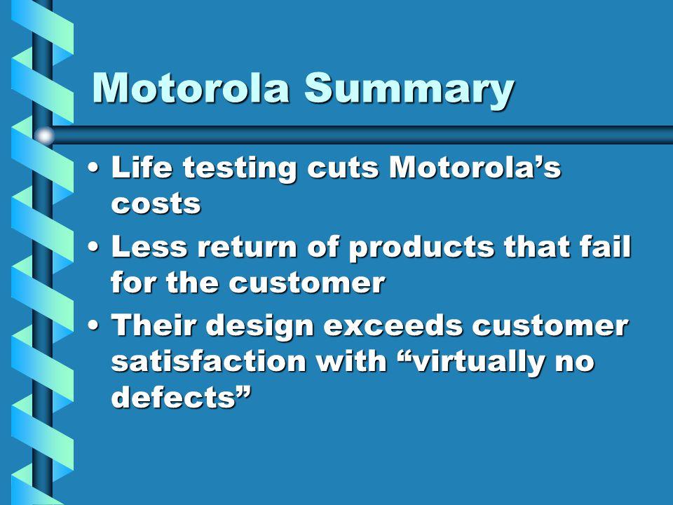 Motorola Summary Life testing cuts Motorola's costs