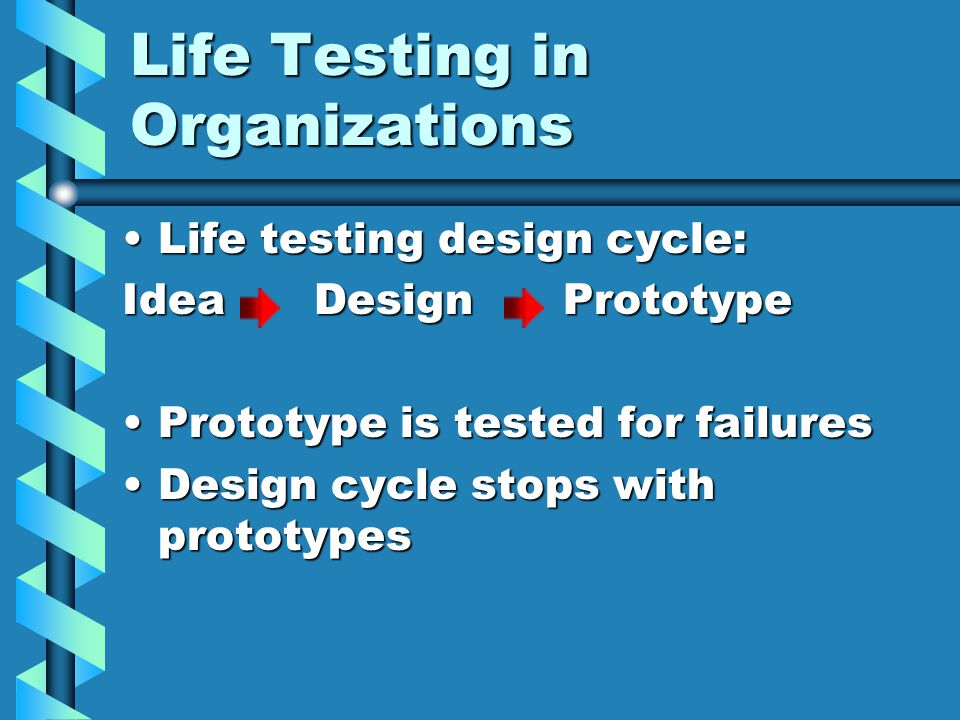 Life Testing in Organizations