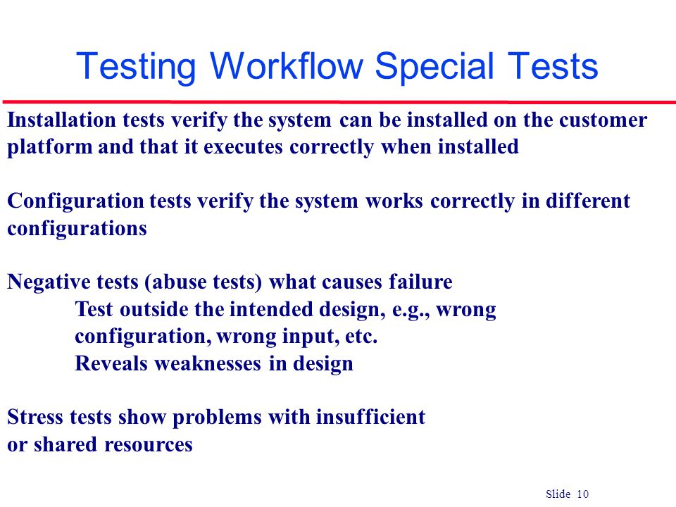 Testing Workflow Special Tests