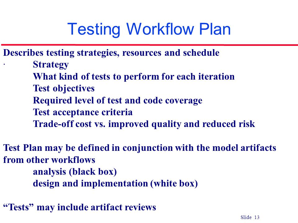 Testing Workflow Plan Describes testing strategies, resources and schedule. · Strategy. What kind of tests to perform for each iteration.