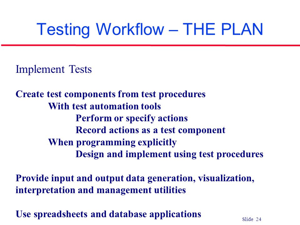 Testing Workflow – THE PLAN