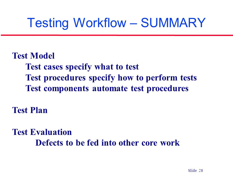 Testing Workflow – SUMMARY